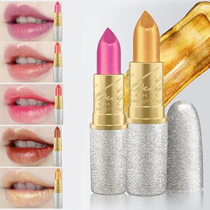 New Hengfang Glitter Lip Color Cosmetics Waterproof Makeup Pigment Nude Pink Long Lasting Gold Shimmer Lipstick 6 Colors