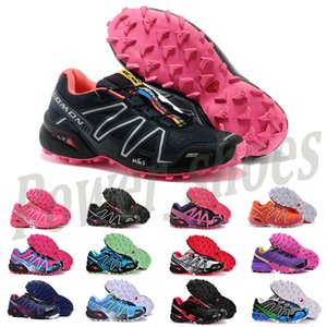 Salomon Speed Cross 3 4 Luxus-Turnschuh der Frauen Solomon 3s Speedcross 3 III CS Trail Outdoor-Schuhe High Quality Carmine Triple Black Lila Run Walking Trainer P8