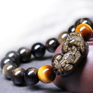 Pulseras PIXIU obsidiana pulsera Cuentas de piedra ojo de tigre Pulsera de Obsidiana Jades de Bracelet