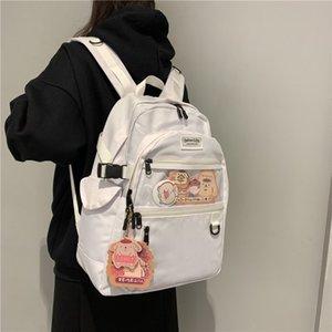 Black And White Canvas Women School Teenage Girl Harajuku Backpack Cotton Female Fashion Student Laptop Bag