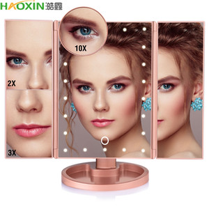 HaoXin 22 LED Light Touch Screen Makeup Mirror 10X Magnifying Glass Compact Vanity Mirror Flexible Cosmetics Mirrors