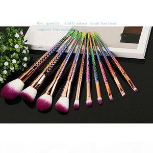 10 Pcs Mermaid Shaped Makeup Brush Set Foundation Powder Eyeshadow Make-up Brushes Contour Blending Cosmetic Brushs