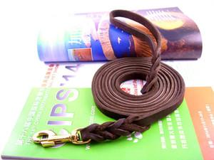 30pcs Braided Handmade Genuine Leather Copper Hook Dog Leash Pet Training Leash Walking Lead For Medium Large Dogs