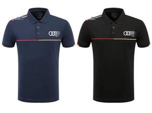 Yeni Audi tişört erkek yeni nefes gündelik gevşek spor takım elbise kalın tişört yarış yaka kısa kollu