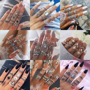 Vintage bohemio Midi anillos de dedo para mujeres playa tortuga elefante piedras preciosas de cristal boda nudillo anillos Boho joyería de moda a granel