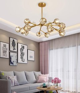 2019 New Nordic Simple Living Room Crystal Chandelier Restaurant Net Red Post-modern Luxury Bedroom Magic Bean Molecule
