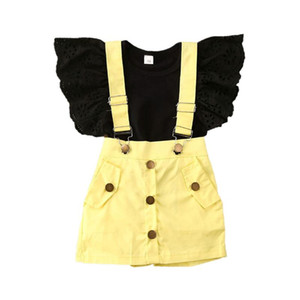 2-7Y Kids Girl Clothes Sets Summer Solid 2Pcs Lace Ruffles Black T-Shirts Yellow Bib Shorts Fashion Child Girl Clothing Sets