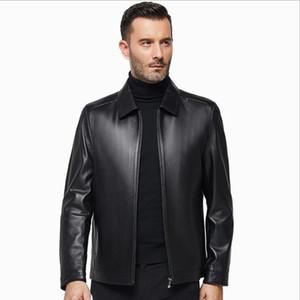 2019 Nueva chaqueta de piel de oveja Motor Bike hombres de mediana edad Primavera Otoño Abrigo de cuero genuino Ropa de moda Padre Negro Café