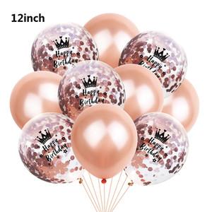 Noel Lateks Balon Doğdun Taç Desen Konfeti Parlayan Balonlar Şeffaf Balonlar Düğün Dekor 10pcs