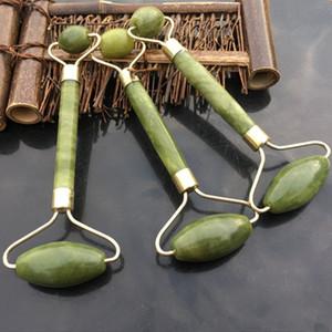 Fabrika Toptan Yüz Güzellik Doğal Jade Yüz Roller-Xiuyan Jade metal çift U şekilli stentler Yüz MassagerDHL