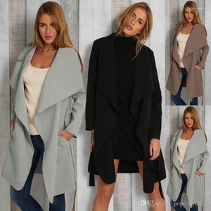 Coat Women Jackets Spring and Autumn Fashion V Neck Lace Up Pocket Long Sleeve Womens Clothing Fashion Lamb Wool