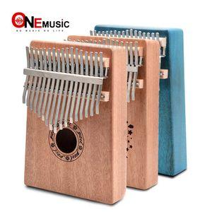 Touches Kalimba Pouce Piano Acajou Corps Instrument De Musique 17 Touches Kalimba Naturel Couleur / Bleu