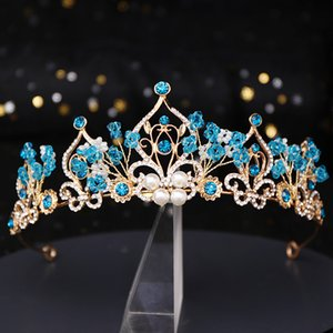 Принцесса Корона цветок Pearl Blue Crystal Свадебные Диадема Свадебные тиары ювелирных головной убор волос Свадебные аксессуары для волос
