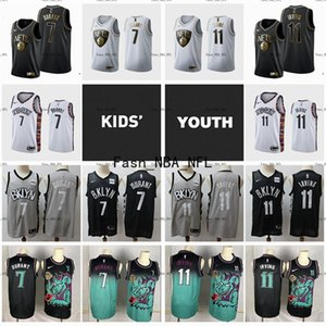 2020 Youth Kids BrooklynNetsJersey Stitched Kevin 7 Durant Authentic #11 Kyrie Irving White Golden Swingman Basketball Jersey