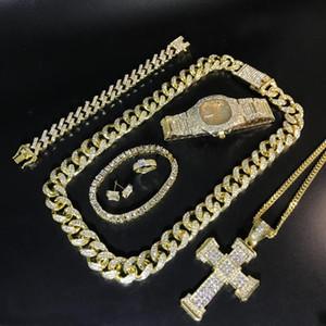 erkekler altın saat hip hop erkekler kolye braclete halka küpe için jewerly Küba zinciri yola Combo izle