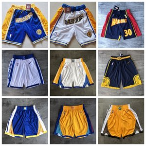 Mens Curry JUST DON Basketball Shorts Warriors30 City Blue Edition Stitched Pocket Shorts Sweatpants White Black S-XXL