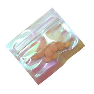 Holographic durchsichtiger Kunststoff Reißverschluss Verpackung Beutel Nahrungsmittelspeicher-Wiederverschließbare Verpackung Beutel DIY Sundries Paket Beutel wieder verwendbare Tasche