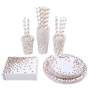 Top grade Rose gold and gilding dot party set(129 pieces)