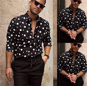 Pois Mens Designer Casual Autunno manica lunga Mens Dress Shirts Hot Style Abbigliamento Homme