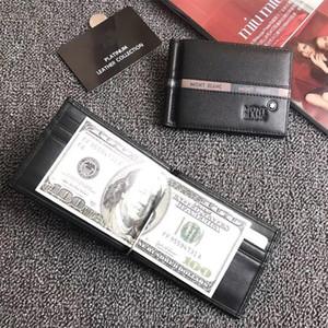 Mens Business Wallet 카드 홀더 디자인을위한 머니 클립 클래식 블랙 리얼 가죽 신용 카드 지갑 럭셔리 빌보드와 더스트 백 박스
