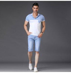 SULEE Marka 2019 Erkek Kısa Jeans Marka Giyim Yaz Pamuk Şort Nefes Yırtılma Kot Şort Erkek Ripped