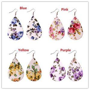 Fashion Print Rose Floral Teardrop Pu Leather Earrings for Women 2018 Summer Jewelry New Unique Drop Leather Earrings