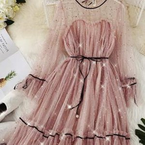 2020 spring summer women Star sequins gauze flare sleeve lace-up Princess dress female elegant o-neck mesh puff dresses