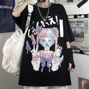 Gothic Sailor Moon Imprimir Harajuku mulheres Camisetas Verão Cotton T-shirt Grunge Tee Top Punk Pastel Goth Roupa Roupa Anime