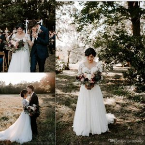 Modest New Lace Wedding Dresses A Line Sheer V Neckline Button With Sexy Back Bridal Gown Long Sleeves Wedding Gowns