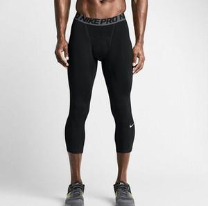 Новая Компрессионные 3/4 Брюки Фитнес Quick Dry Running Брюки мужские спортивные брюки Леггинсы мужские Pant для бега трусцой Gym поножи