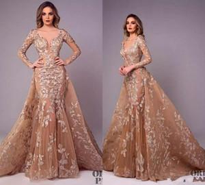 Tony Chaaya Illusion Champagne Robes de soirée jupe amovible col en V balayage train manches longues robe de soirée en dentelle Applique robes de soirée