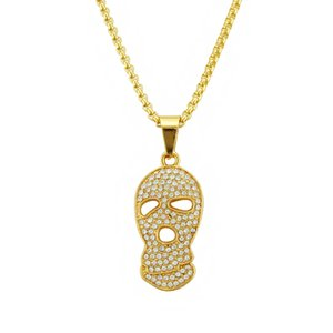 Diamond-Set Hip Hop Pendant Necklace Mens Gold-Plated Skull Hiphop Pendant Necklace