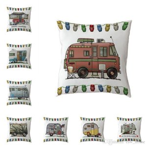 Happy Campers Cushion Cover 44*44cm Linen Pillow Case Camping Car Office Bed Couch Home Decoration Throw Pillowcase