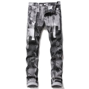 Gray Printed Jeans Men Full Length Straight Slim Washed Casual Denim Trousers Fashion Wild Male