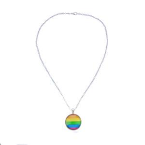 Männer Frauen Homosexuell Pride-Halskette Regenbogen-Flagge Lesben LGBT Liebe ist Liebe Stolz Glasanhänger Ketten Unique Jewelry