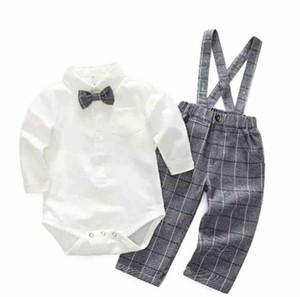 Baby boy джентльмен одежда ползунки наборы отложной воротник с длинным рукавом ползунки + плед брюки 100% хлопок дети весна осень одежда ползунки