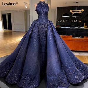 Bleu marine Sequned sirène robes de soirée avec Amovible train Luxe Plus Size Prom robe Sparkly Jewel cou Parti robe formelle