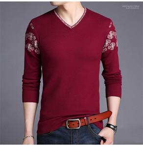 Pulls manches longues Sweatshirts Bonneterie Casual Slim Homme Vêtements Printemps V Neck Hommes Pulls Mode couleur unie broderie