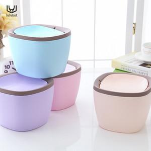 luluhut Mini poubelle de bureau peut gaspiller des déchets corbeille à papier petite table poubelle bin cuisine rangement en plastique seau à déchets