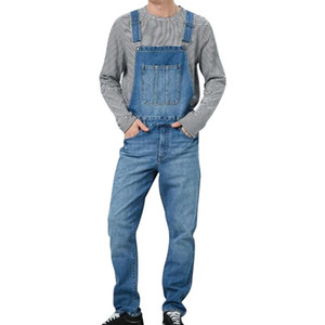 HEFLASHOR 2020 Men Denim Pant Overall One Piece Full Length Ripped Jeans Jumpsuits Men Slim Casual Jeans Overalls Pant Pantalon