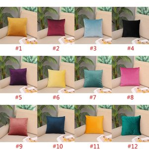 12 Style Modern Simple Velvet Pillowcase Leisure Sofa Cushion Solid Color Suede Comfortable Pillow Cover XD23542