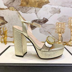 Nuovo stile signore europee beni di lusso classico 11.5cm scarpe col tacco alto pura vera pelle oro con lettere decorativi fibbia della cintura ornamento