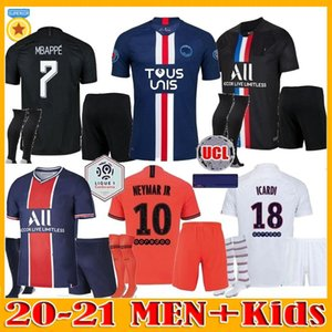 Erkekler çocuklar Maillots de futbol takımı 19 20 21 PSG futbol forması 2020 2021 Tous UNIS DÖRDÜNCÜ Paris MBAPPE Cavani formaları Icardi gömlek