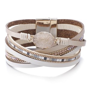 Amorcome Stone Charm Leather Bracelets For Women 2019 Fashion Crystal Ladies Boho Multilayer Wide Wrap Bracelet Female Jewelry