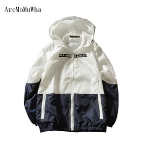 AreMoMuWha 2018 New spring men's hooded jackets Casual Patchwork Letter Thin Sweatshirts sun protection Men clothing Tops QX017