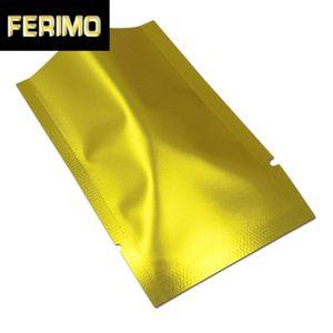 200Pcs Matt Silber Gold Open Top-Aluminiumfolie Verpackung Beutel Mylar Folienflach Heat Seal Retails Aufbewahrungstasche Verpackung
