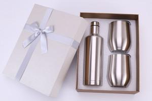 Set de regalo de copas de vino de acero inoxidable 500 ml botella de vino tinto vaso de vino de 12 oz set tazas de huevo El mejor regalo para Navidad Color personalizado