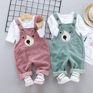 2020 New Spring Children Boys Girls Suit Baby T shirt Cartoon Bear Corduroy Belt Pants 2pcs Set Kids Clothing Toddler Tracksuits