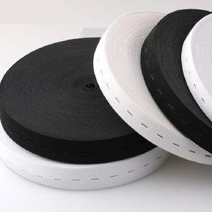 공예 DIY 바느질 액세서리 단추 구멍 니트 탄성 밴드 리본 테이프 20mm / 2cm 와이드 화이트 / 블랙 스레드 탄성 웨 빙