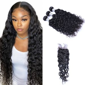 Mongolian Human Hair Water Wave Extensions with 4*4 Lace Closure Virgin Hair Wefts 3 Bundles with Closure